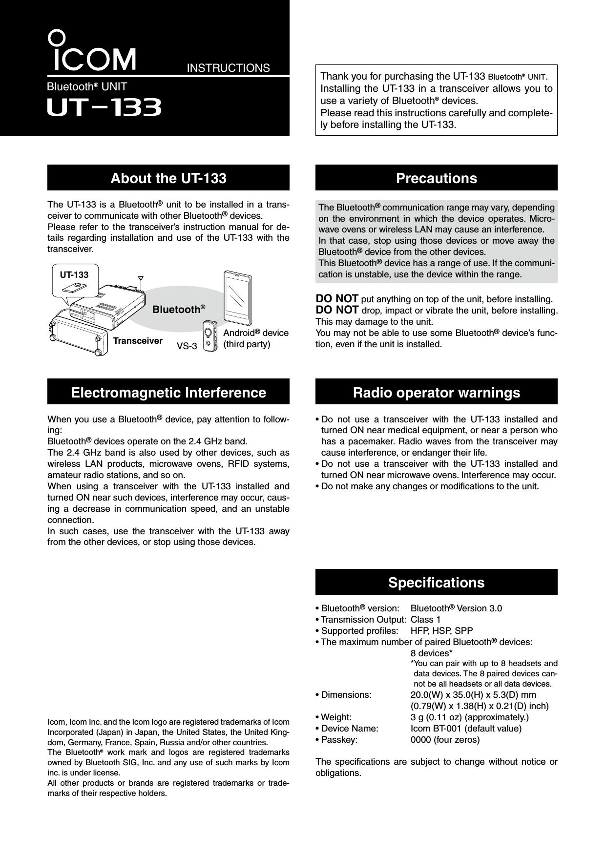 ICOM orporated 356100 UT-133 User Manual UT 133 ENG 0 2nd