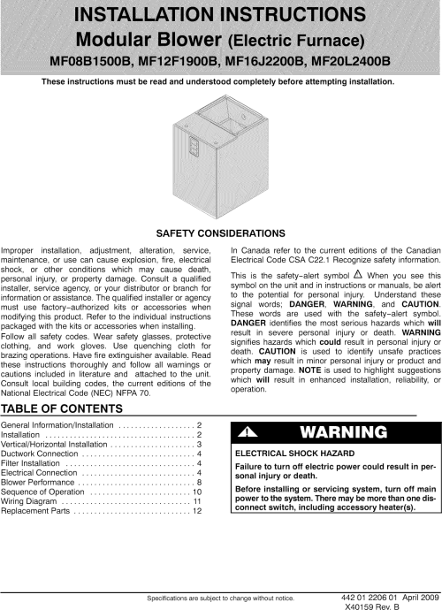 small resolution of page 1 of 12 icp air handler indoor blower evap manual l0909283