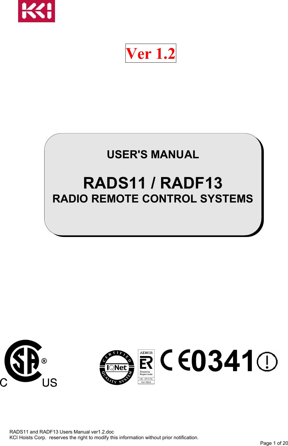 IKUSI ELECTRONICA S L RAD-RF RAD-RF radio remote control