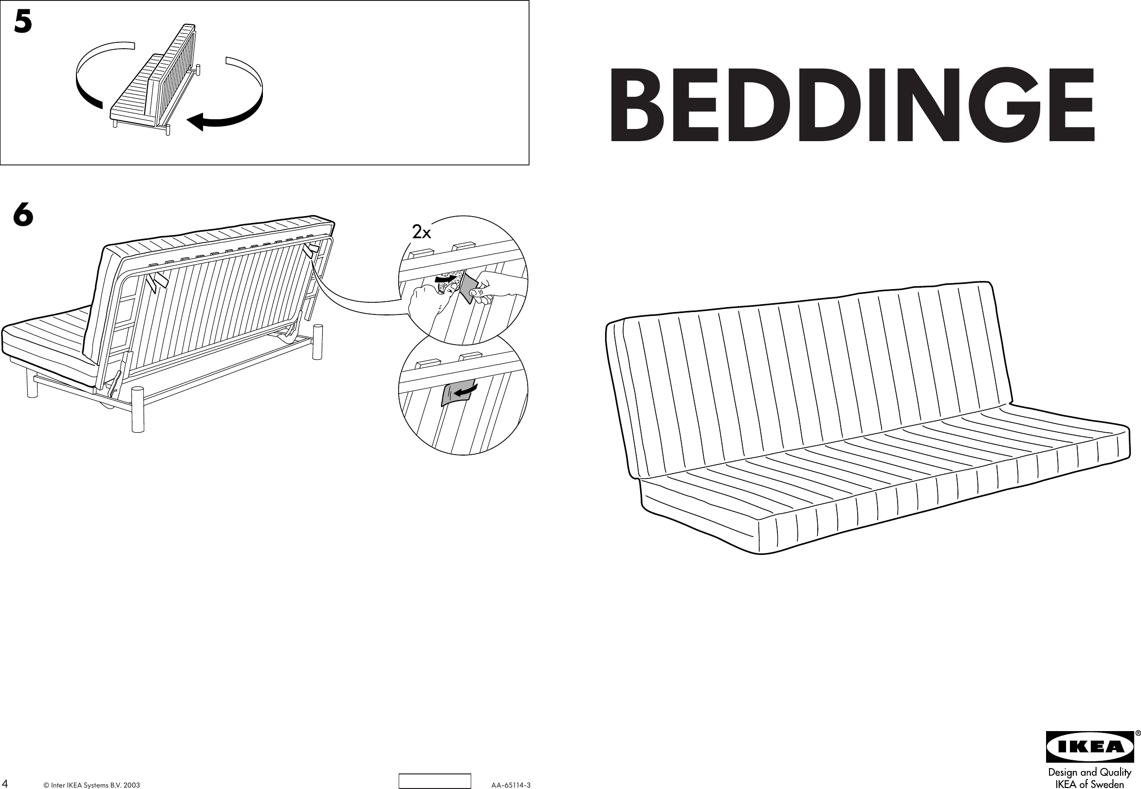 Ikea Beddinge Sofa Bed Mattress Assembly Instruction