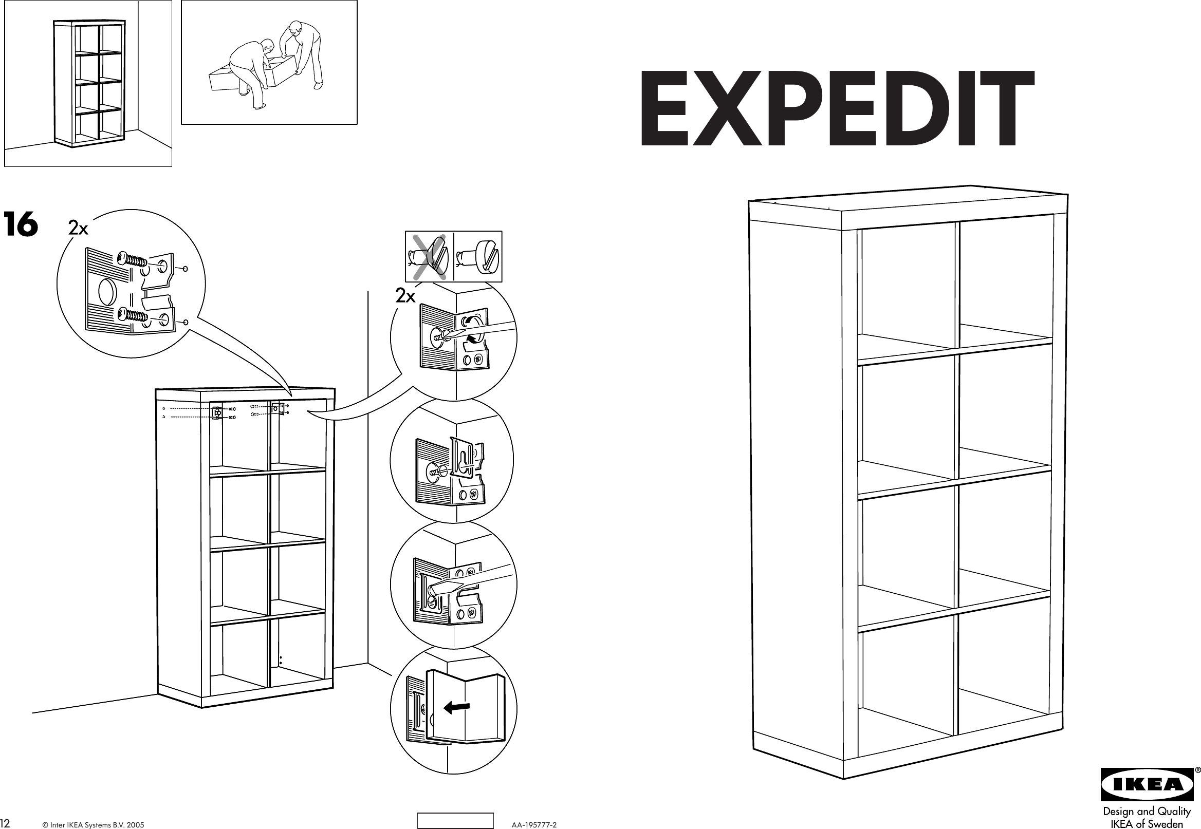 Ikea Expedit Bookcase 58 5 8X31 1 8 Assembly Instruction