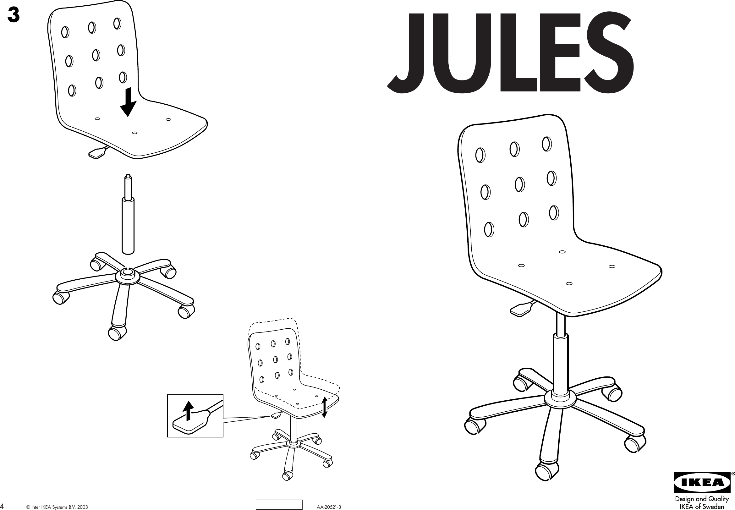 ikea jules chair replacement wood spindles for chairs frame swivel assembly instruction 2