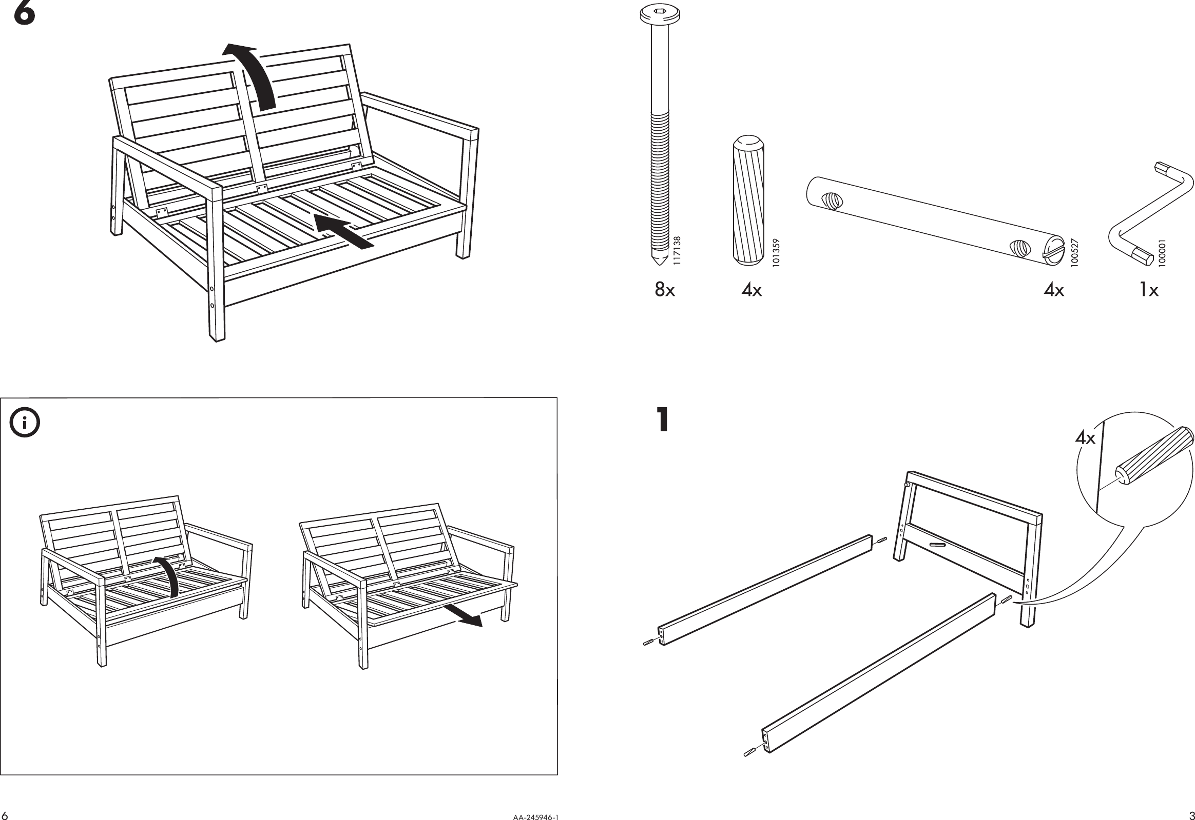 Ikea Lillberg Rocking Chair Frame Assembly Instruction