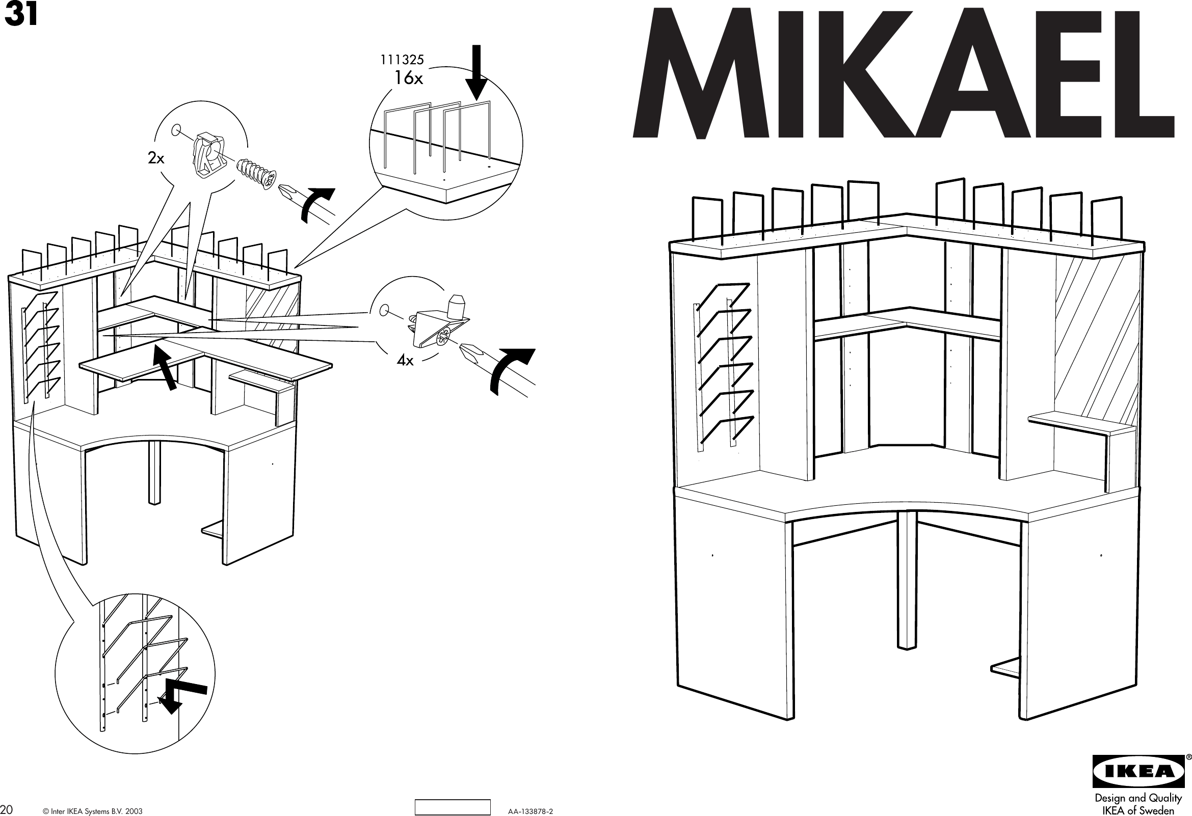 Ikea Mikael Corner Workstation Assembly Instruction