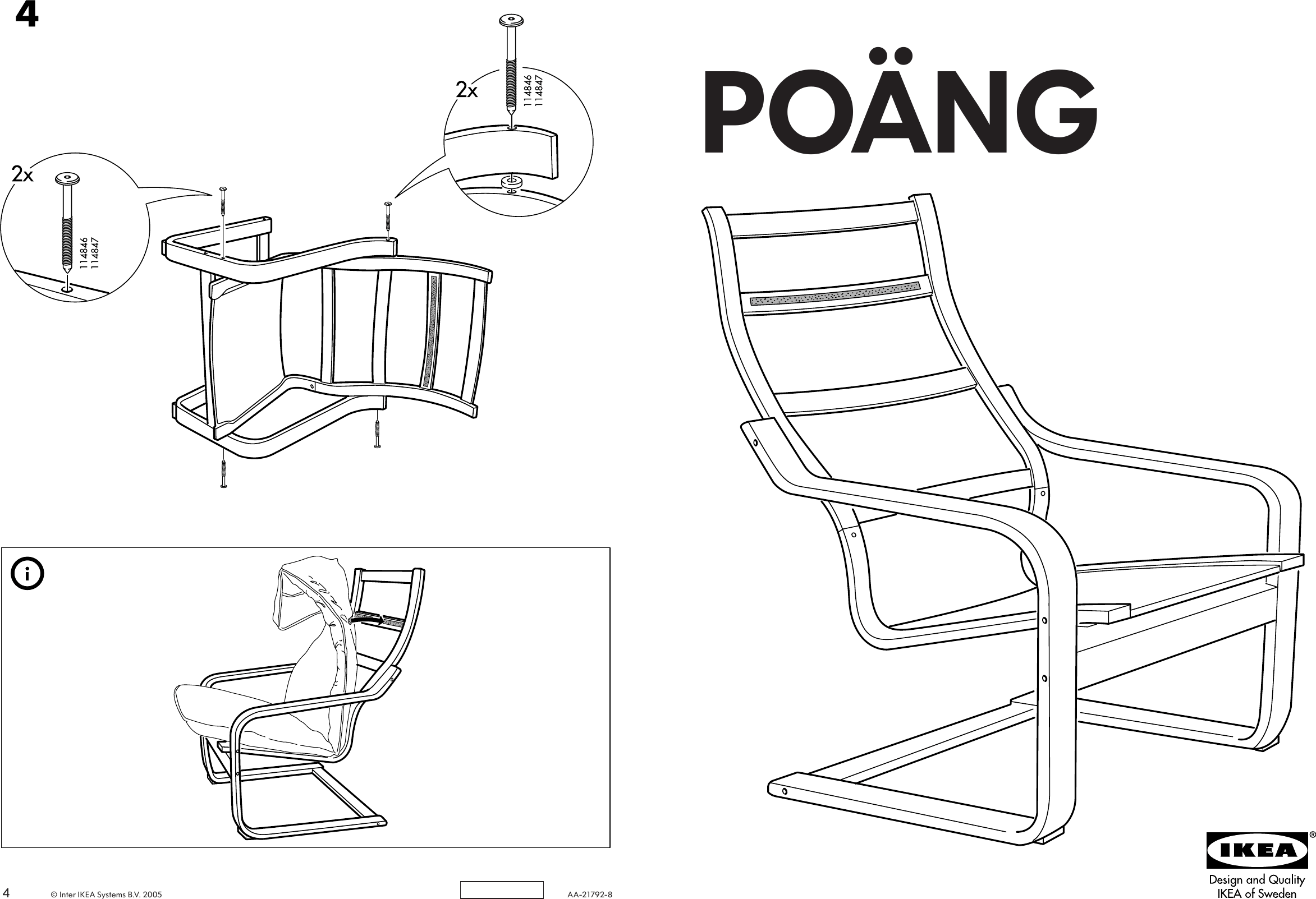 Ikea Poang Chair Frame Assembly Instruction