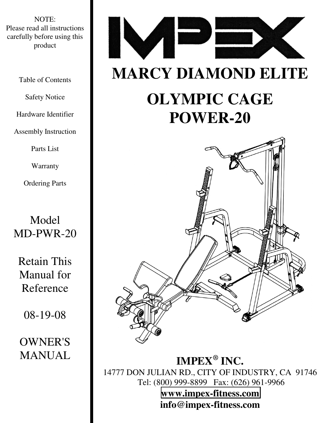 Impex Fitness Md Pwr20 Owners Manual PARTS LIST