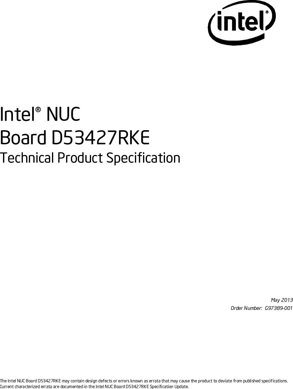 Intel BOXDC53427HYE Intel® NUC Board D53427RKE Technical