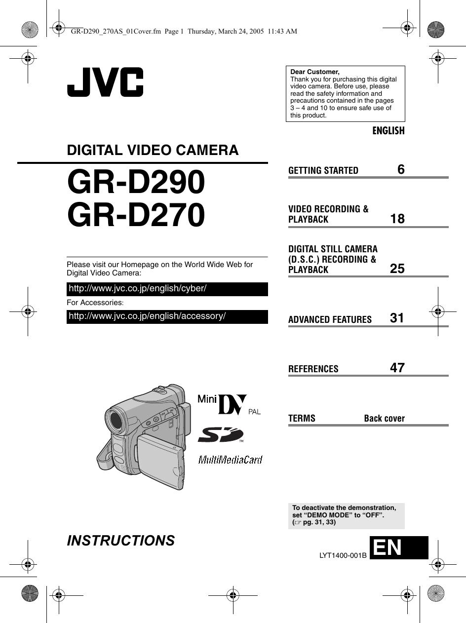 JVC GR D270AS D29/270AS User Manual D270AS, D290AS LYT1400