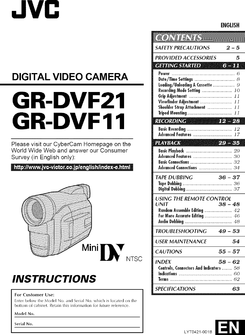JVC Digital Camcorder Manual L0604322