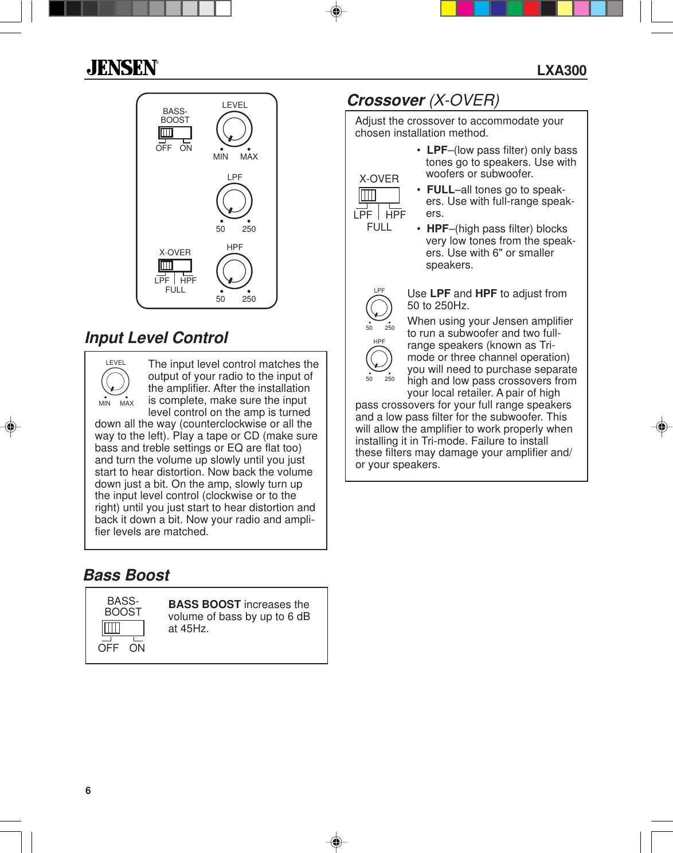 Jensen Car Amplifier Lxa300 Users Manual 5528Eamp.p65
