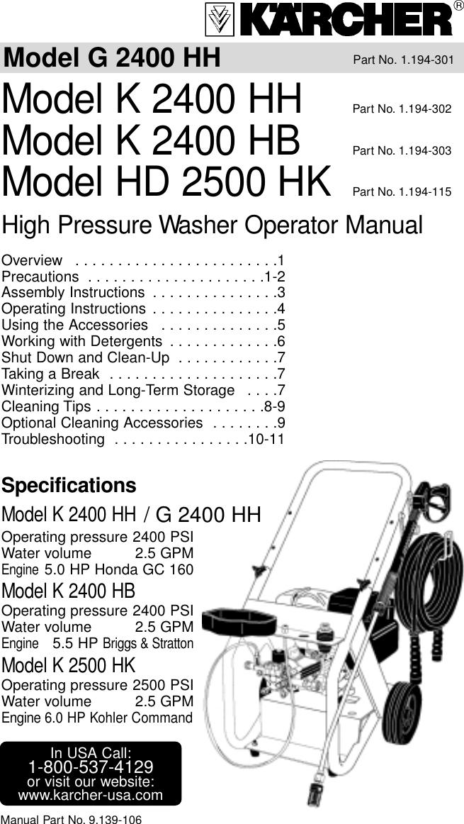 Karcher G 2400 Hh K Users Manual