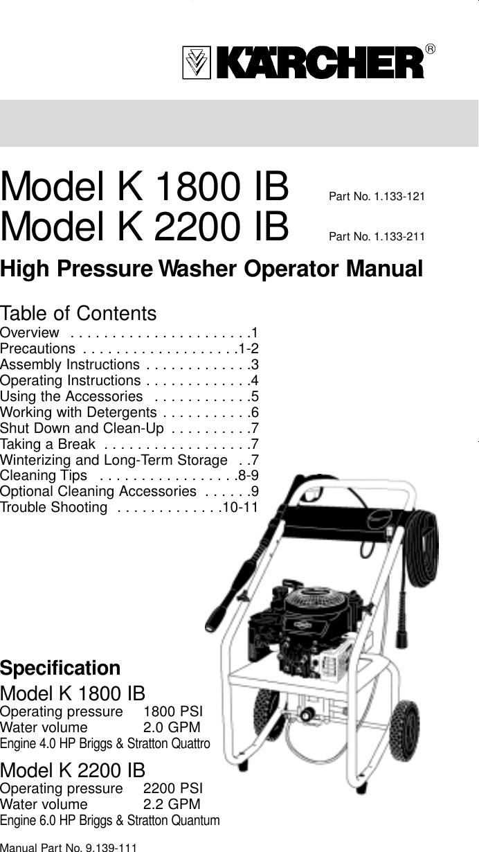 Karcher K 1800 Ib Users Manual