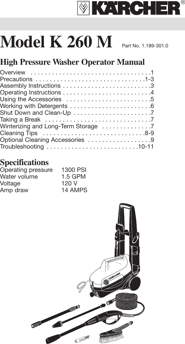 Karcher K 260 M Users Manual K260M 5