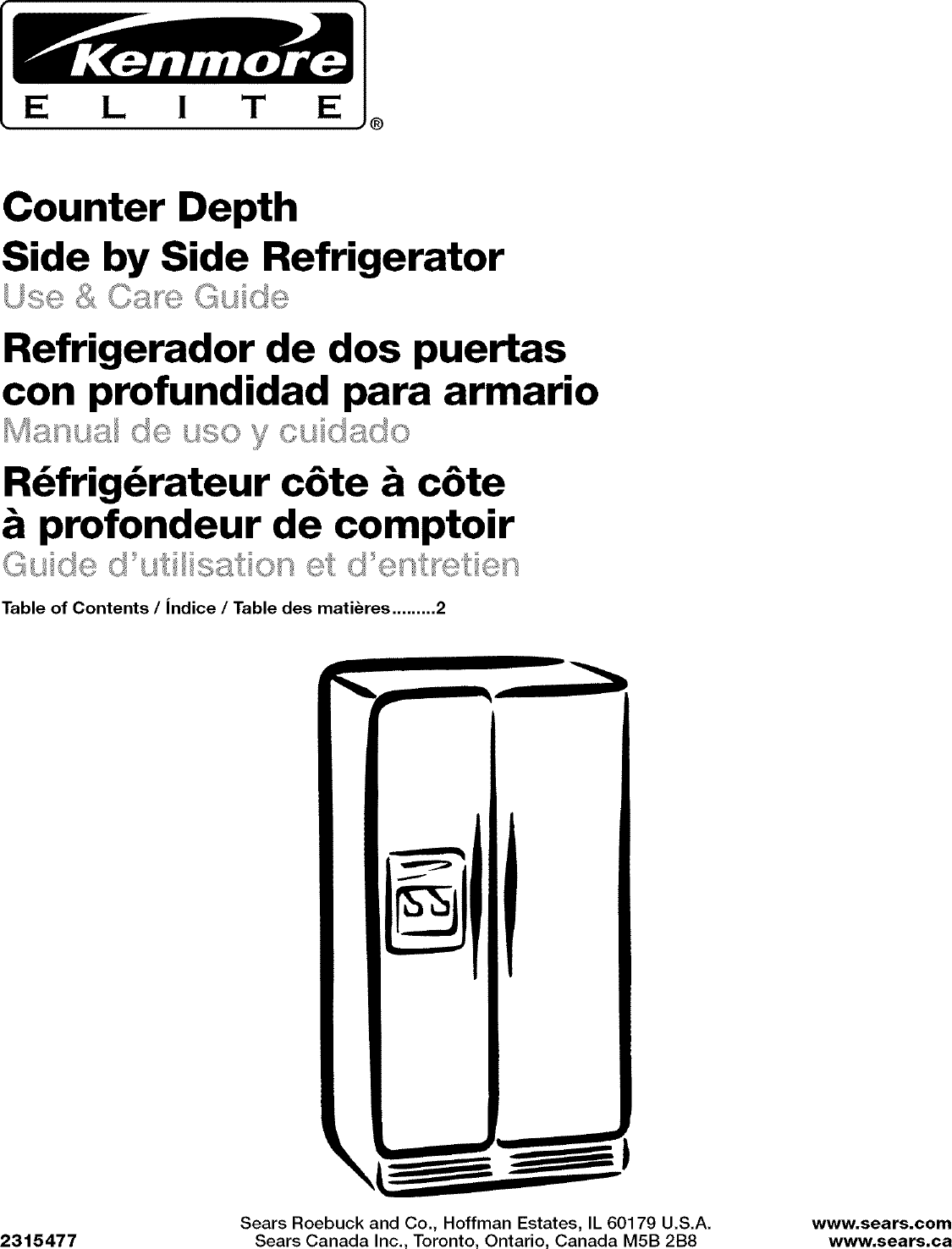 Kenmore Elite 10644422600 User Manual SIDE BY REFRIGERATOR