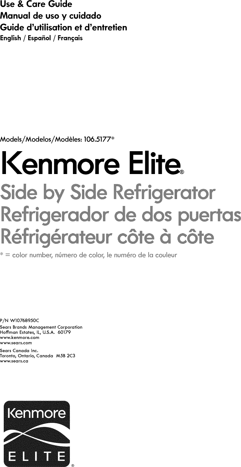 Kenmore Elite 10651772510 User Manual REFRIGERATOR Manuals