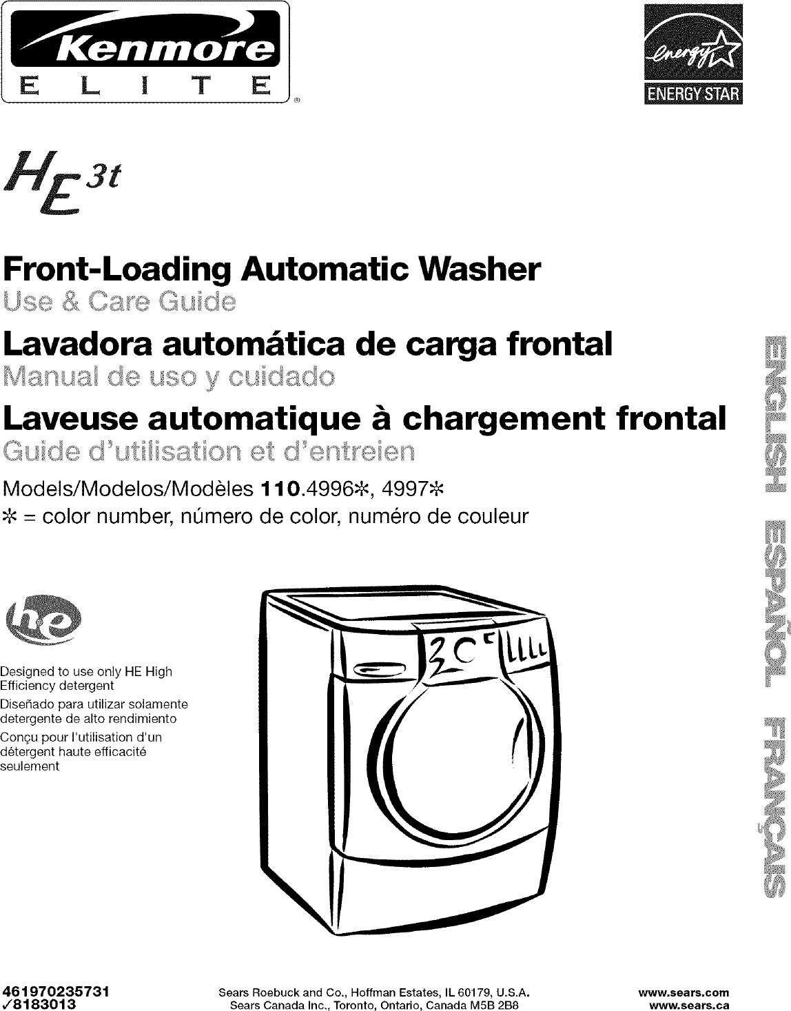 Kenmore Elite 11049962600 User Manual WASHER Manuals And