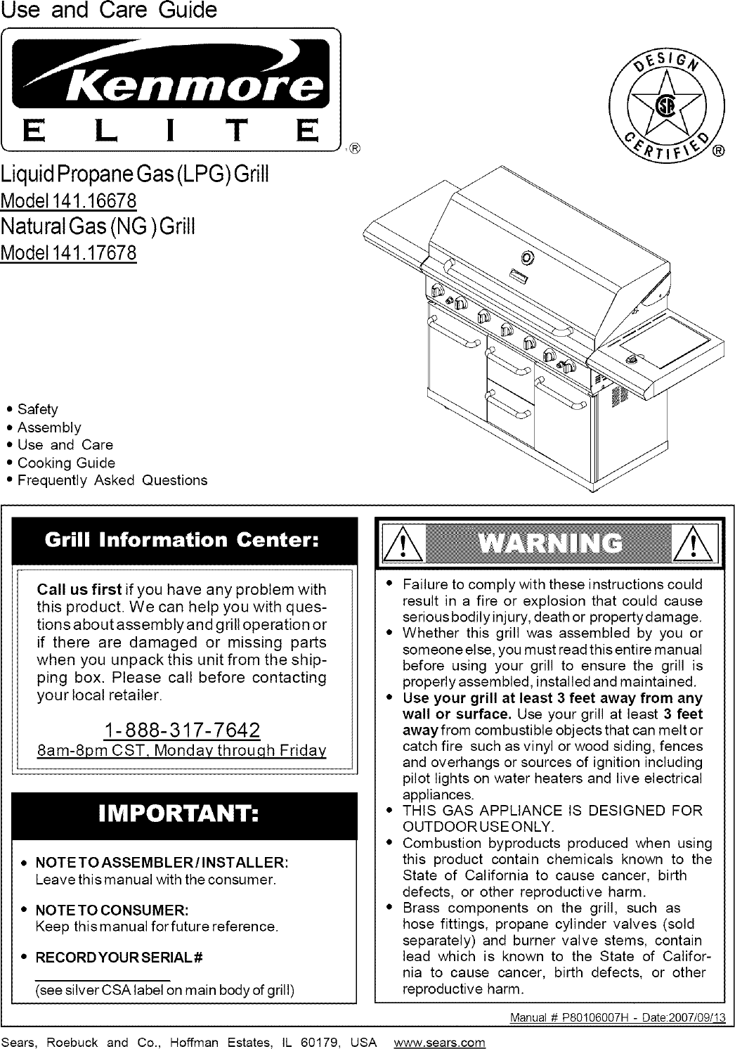 Kenmore Elite 14116678800 User Manual GAS GRILL Manuals