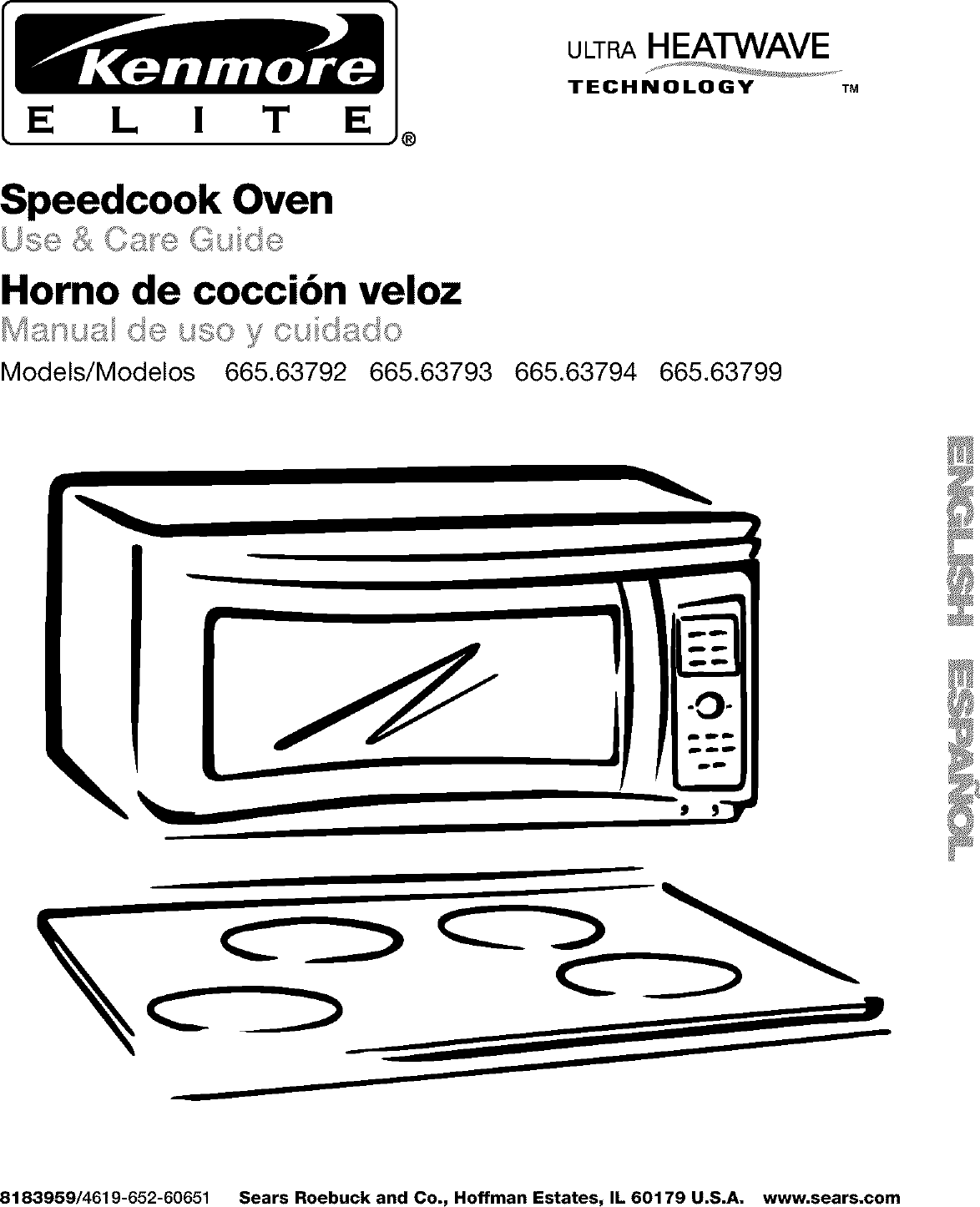 Kenmore Elite 66563792200 User Manual MICROWAVE/HOOD COMBO
