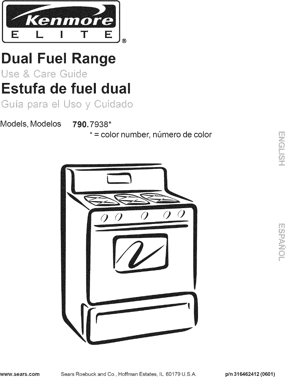 Kenmore Elite 79079382406 User Manual DUAL FUEL RANGE