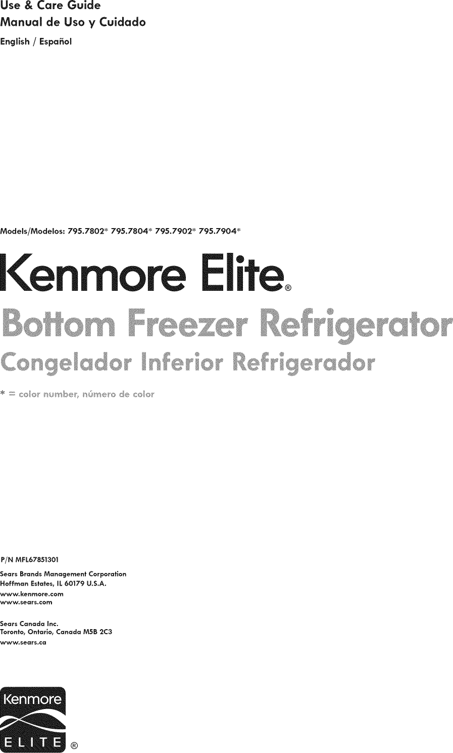 Kenmore Elite 79578022310 User Manual REFRIGERATOR Manuals