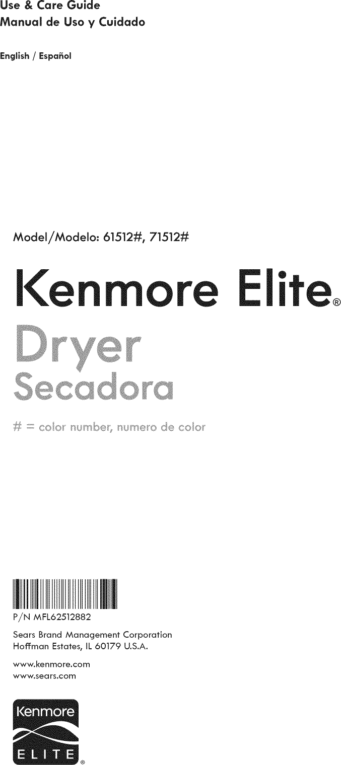 Kenmore Elite 79661512210 1206221L User Manual DRYER