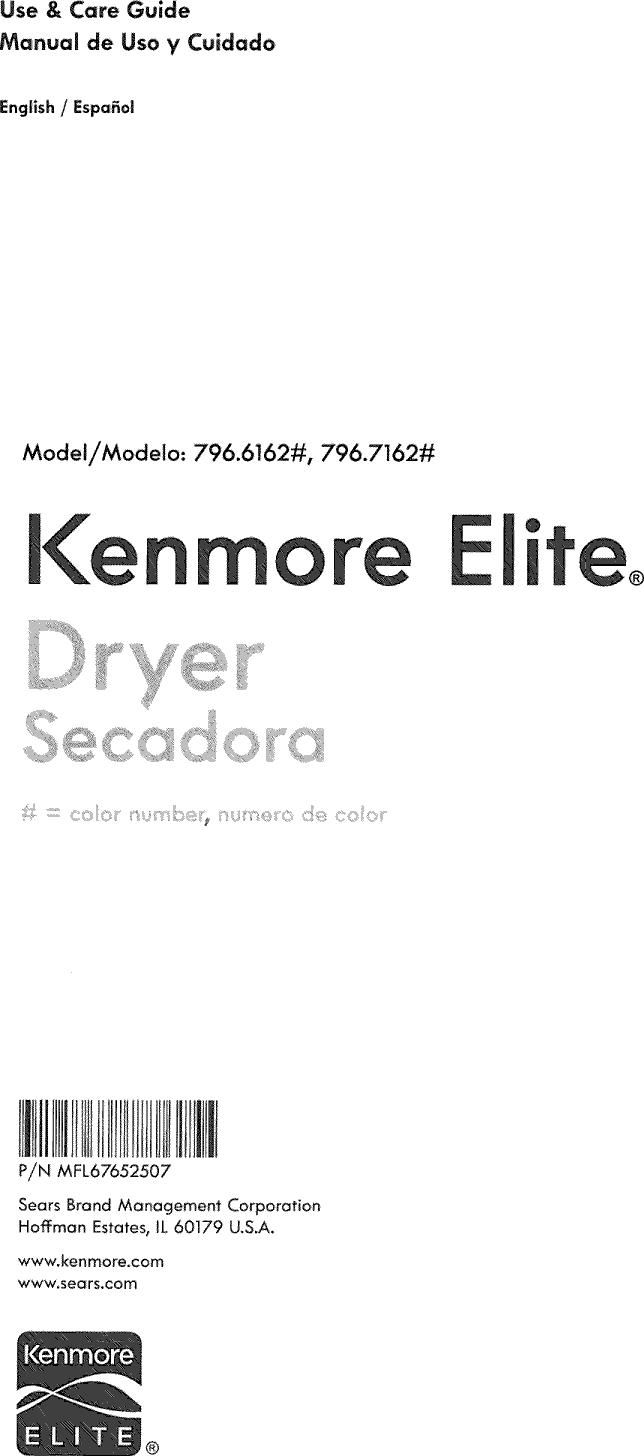 Kenmore Elite 79661622310 User Manual DRYER Manuals And