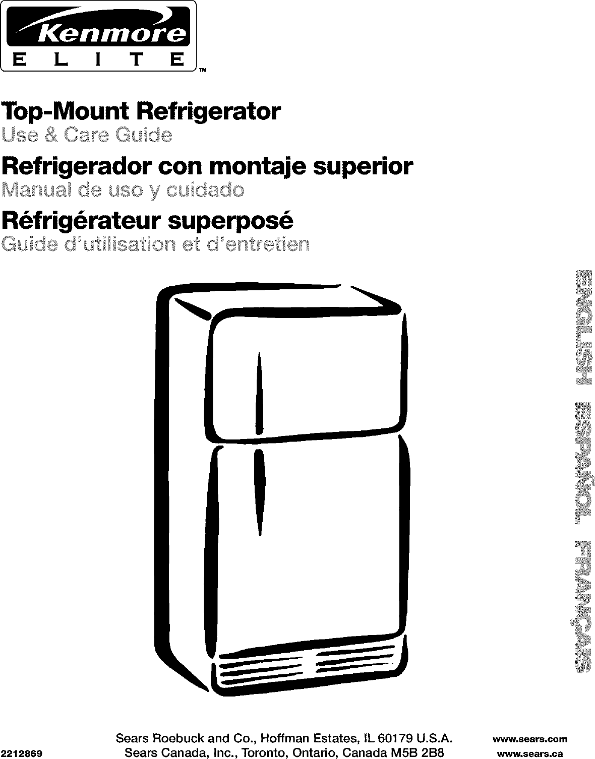 Kenmore 10671202100 User Manual TOP MOUNT REFRIGERATOR