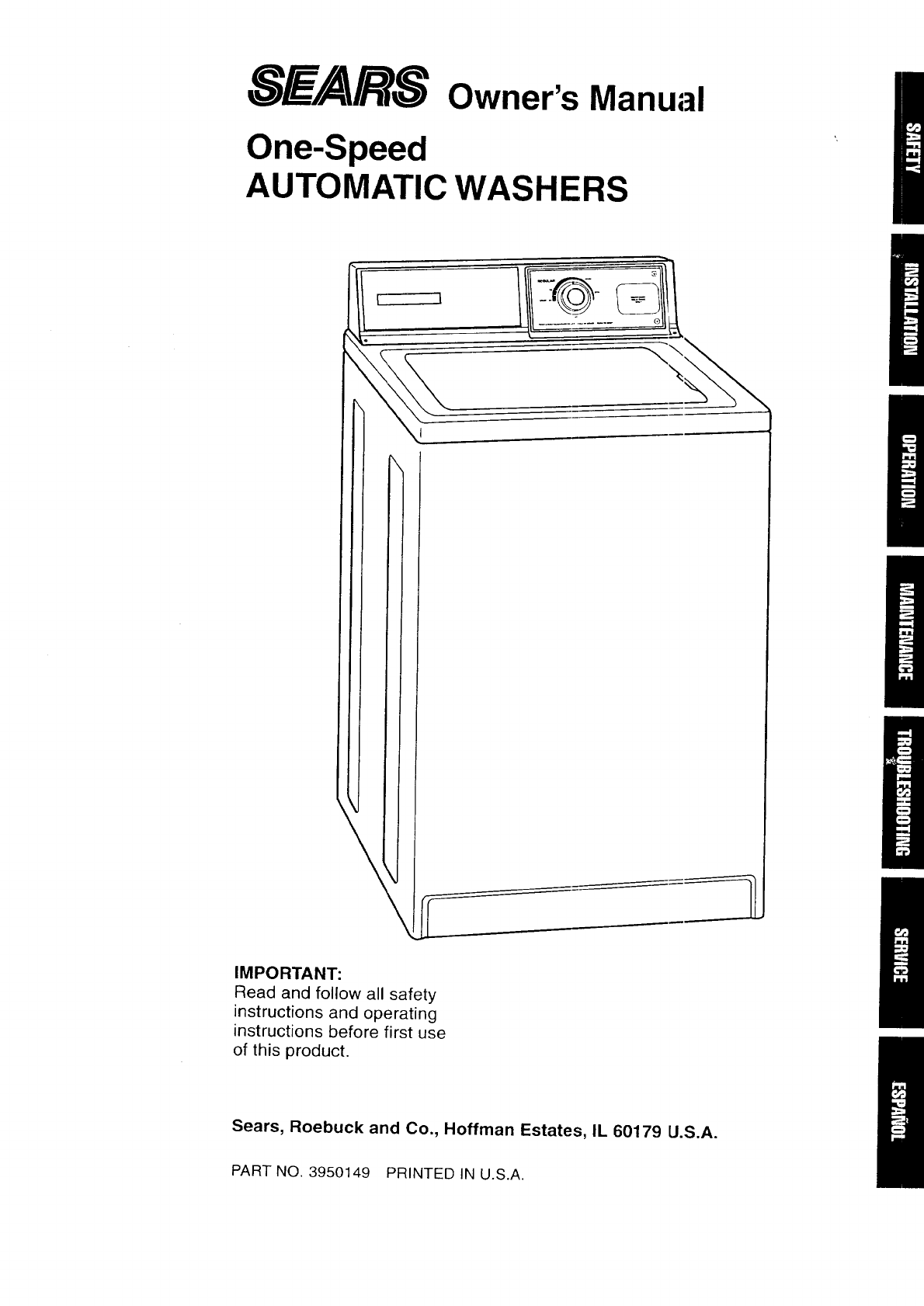 Kenmore 11016101690 User Manual AUTOMATIC WASHER Manuals