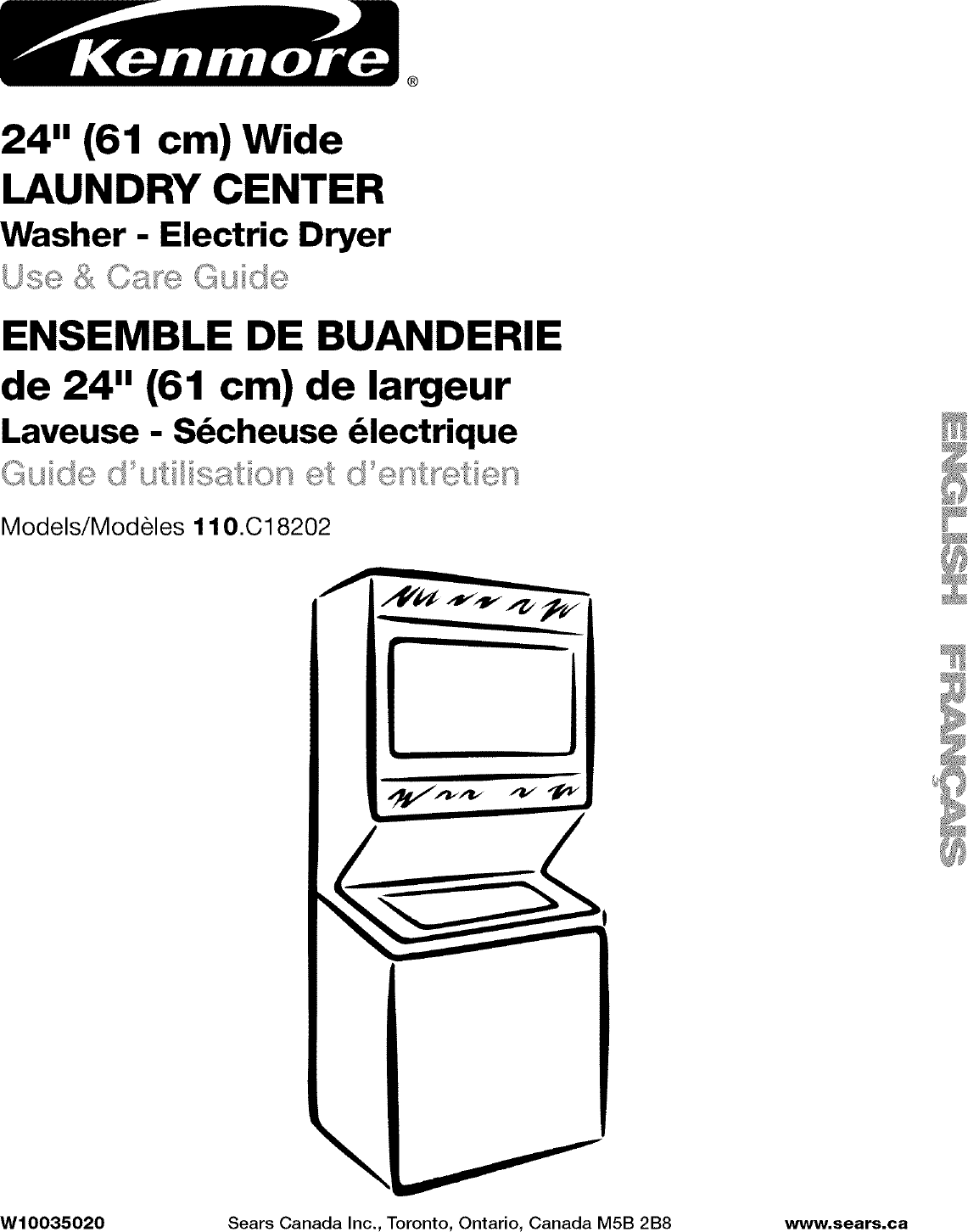 Kenmore 1101820296 User Manual LAUNDRY CENTER Manuals And