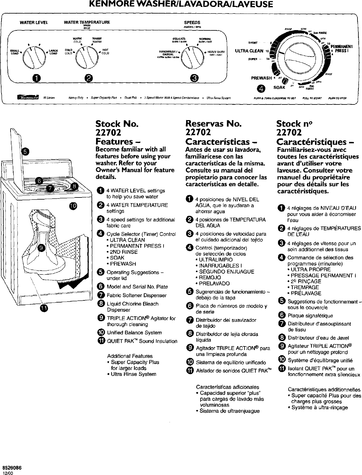 Kenmore 11022702100 User Manual AUTOMATIC WASHER, COMPACT
