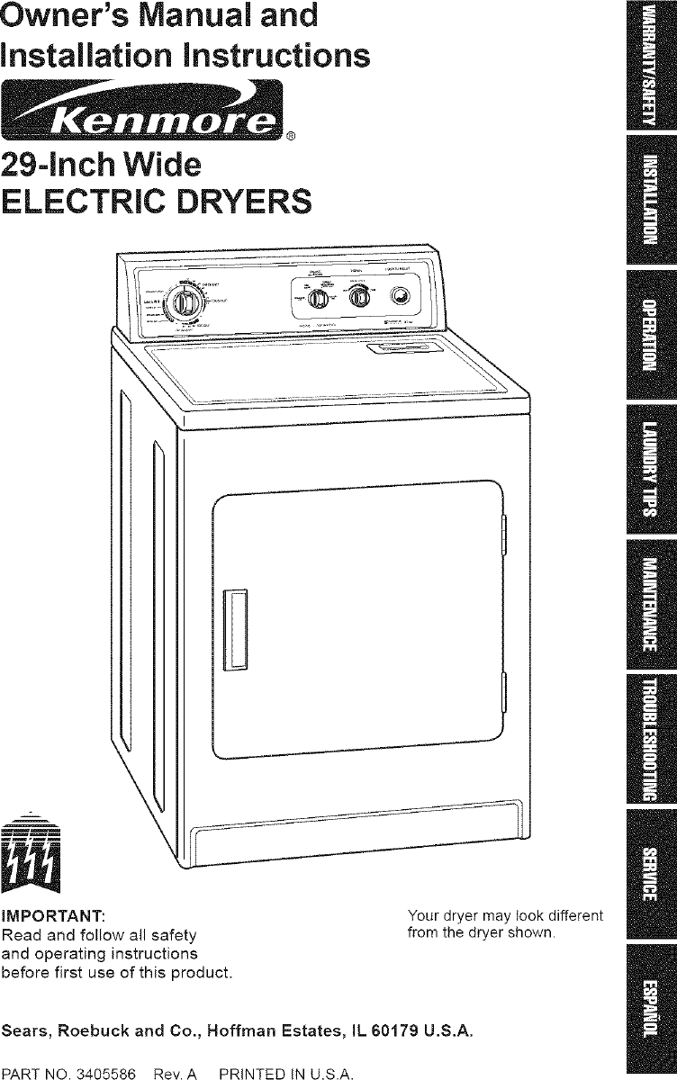 Kenmore 11060202990 User Manual ELECTRIC DRYER Manuals And