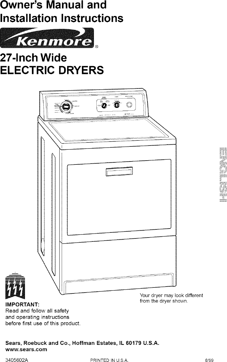 Kenmore User Manual Electric Dryer Manuals And