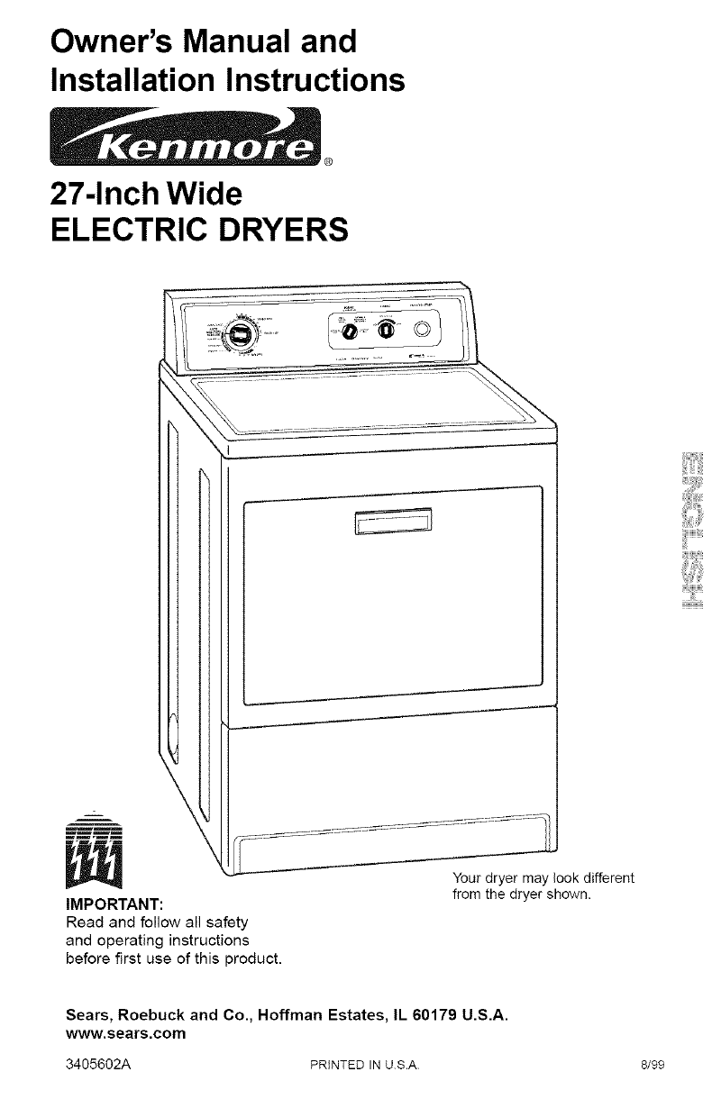 hight resolution of kenmore 11060902990 user manual electric dryer manuals and guides l0708185