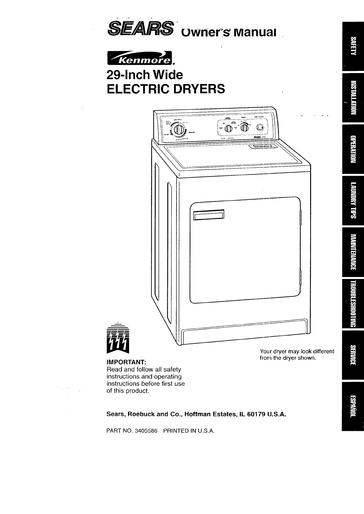 hight resolution of kenmore 11076512690 user manual electric dryer manuals and guides 97110268