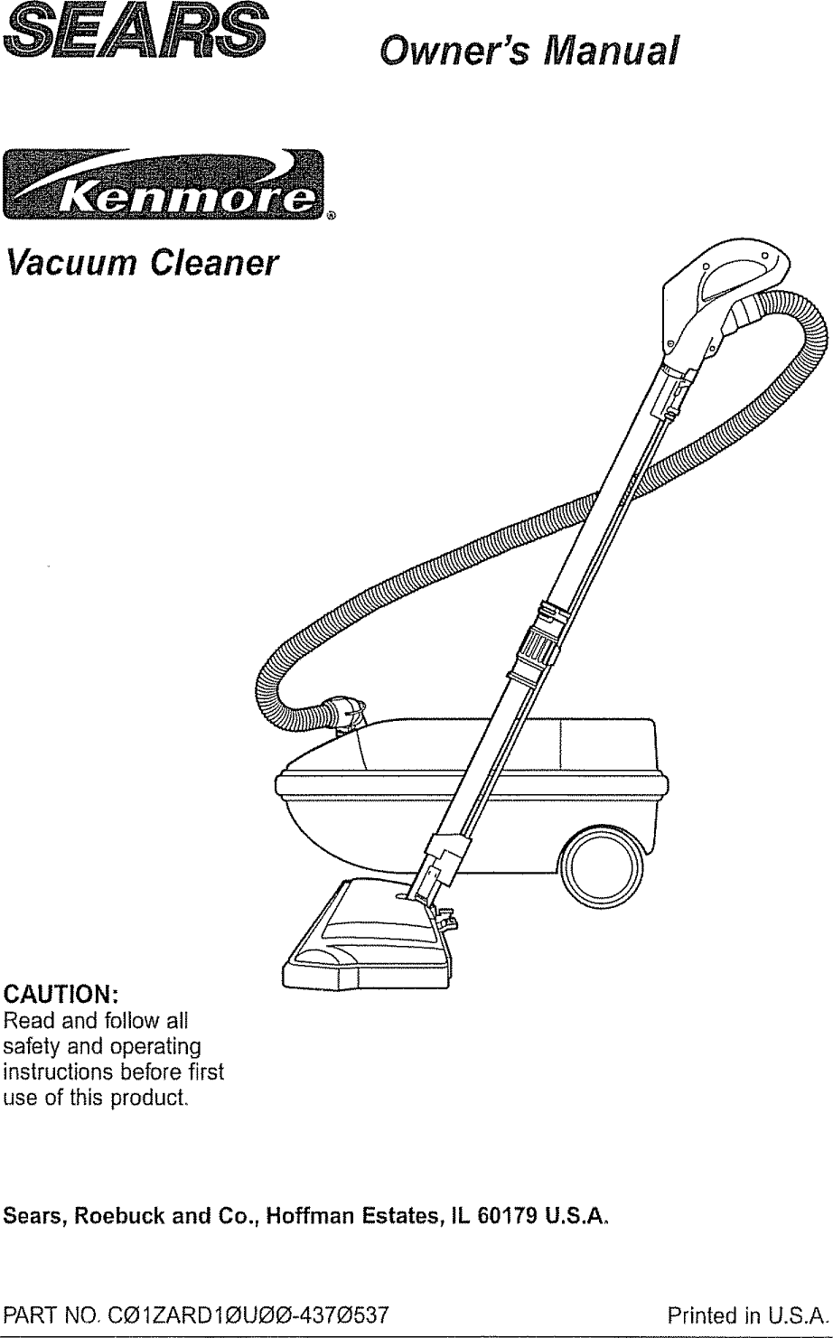 Kenmore 11626412690 User Manual VACUUM CLEANER Manuals And