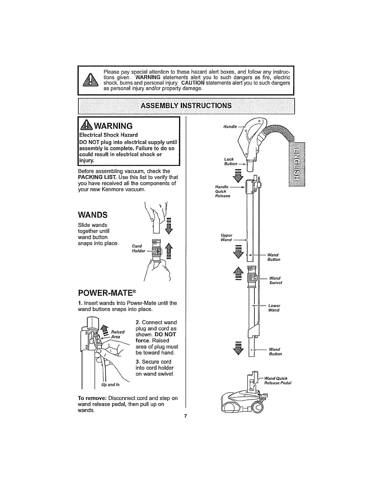 Kenmore 11629319800 User Manual VACUUM CANISTER Manuals