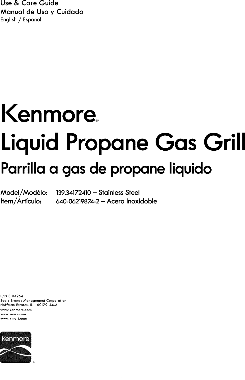 Kenmore 13934172410 User Manual GAS GRILL Manuals And