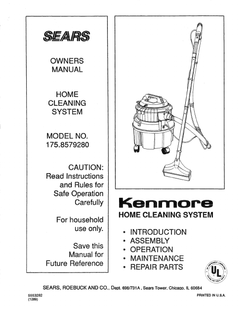 small resolution of kenmore 1758579280 user manual home cleaning system manuals and guides l0812147