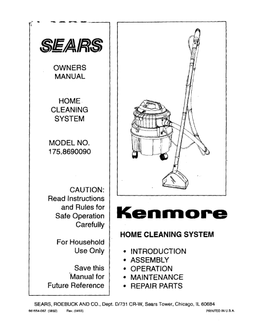 small resolution of kenmore 1758690090 user manual home cleaning system manuals and guides l0803422