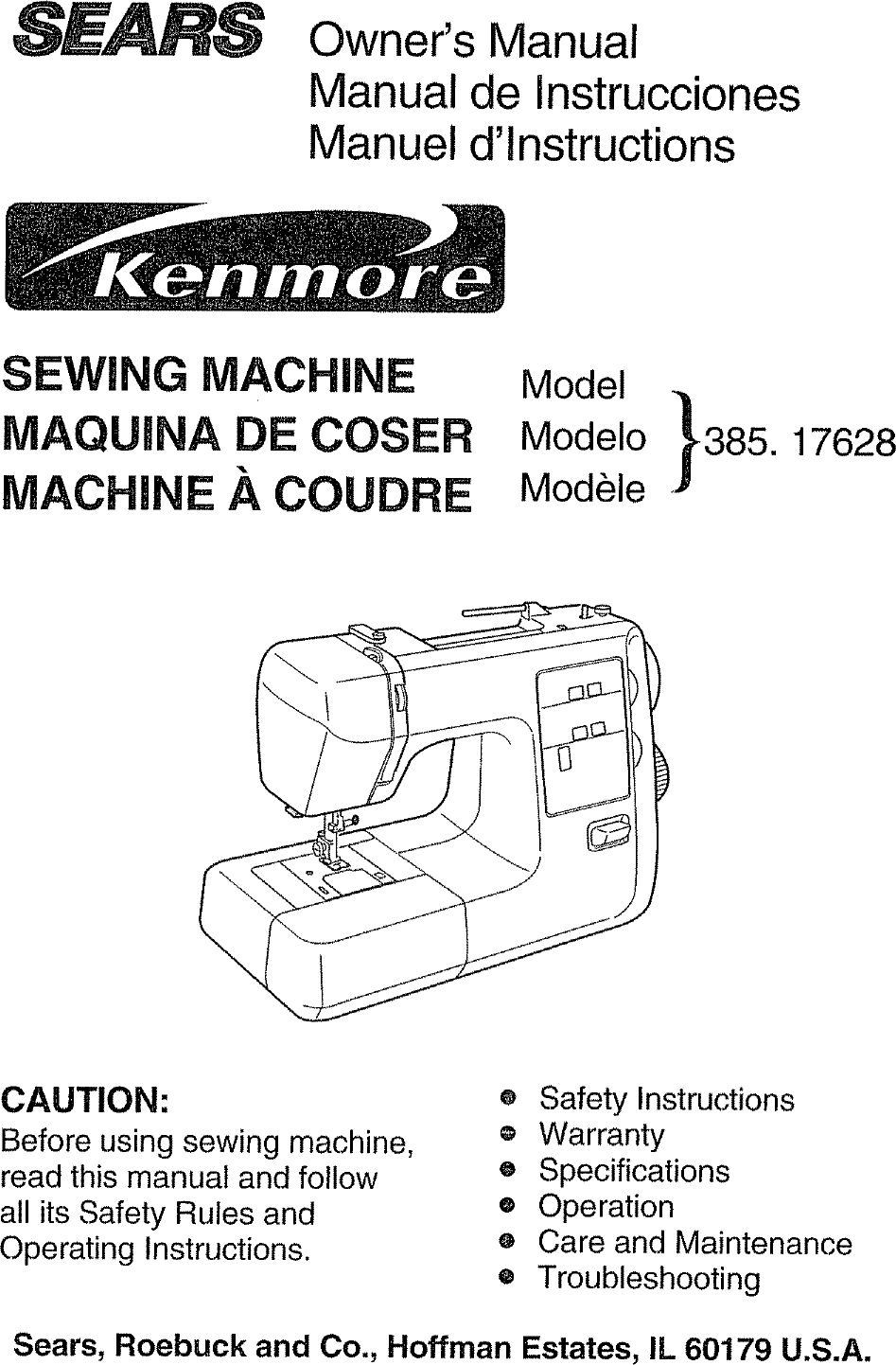 medium resolution of kenmore 38517628890 user manual sewing machine manuals and guides l0707007