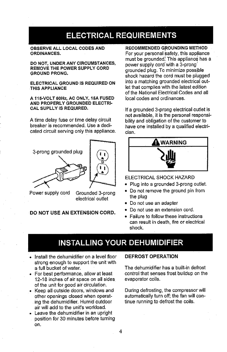Kenmore 40752501210 User Manual DEHUMIDIFIER Manuals And