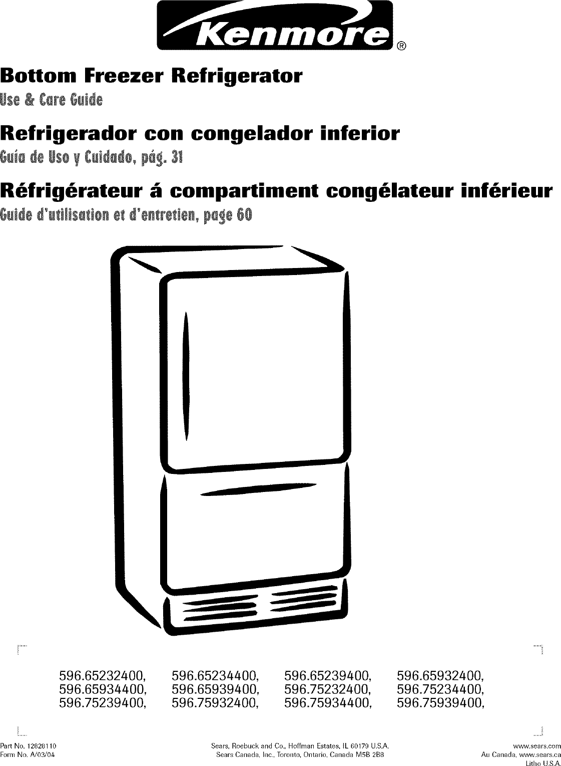 Kenmore 59665232400 User Manual REFRIGERATOR Manuals And