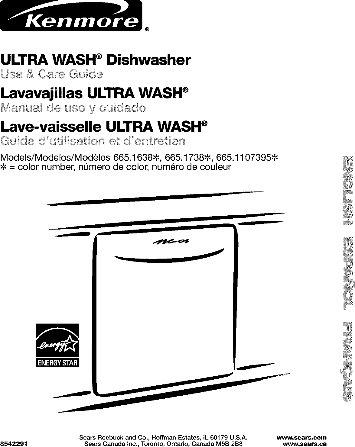 Kenmore 66516389300 User Manual UNDERCOUNTER DISHWASHER