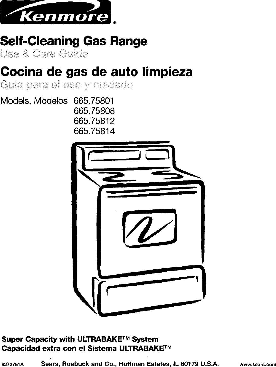 Kenmore 66575801001 User Manual GAS FREESTANDING RANGE