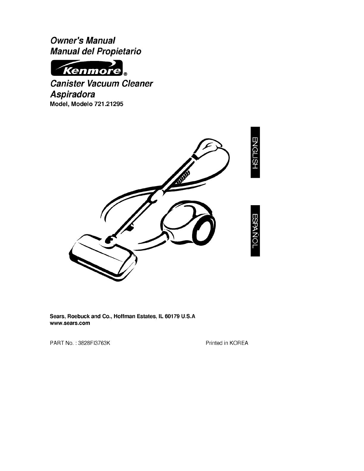 Kenmore 72121295000 User Manual CANISTER VACUUM Manuals