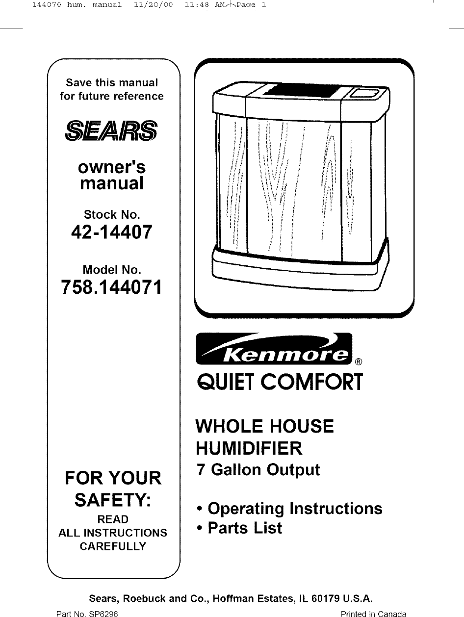 Kenmore 758144071 User Manual HUMIDIFIER Manuals And