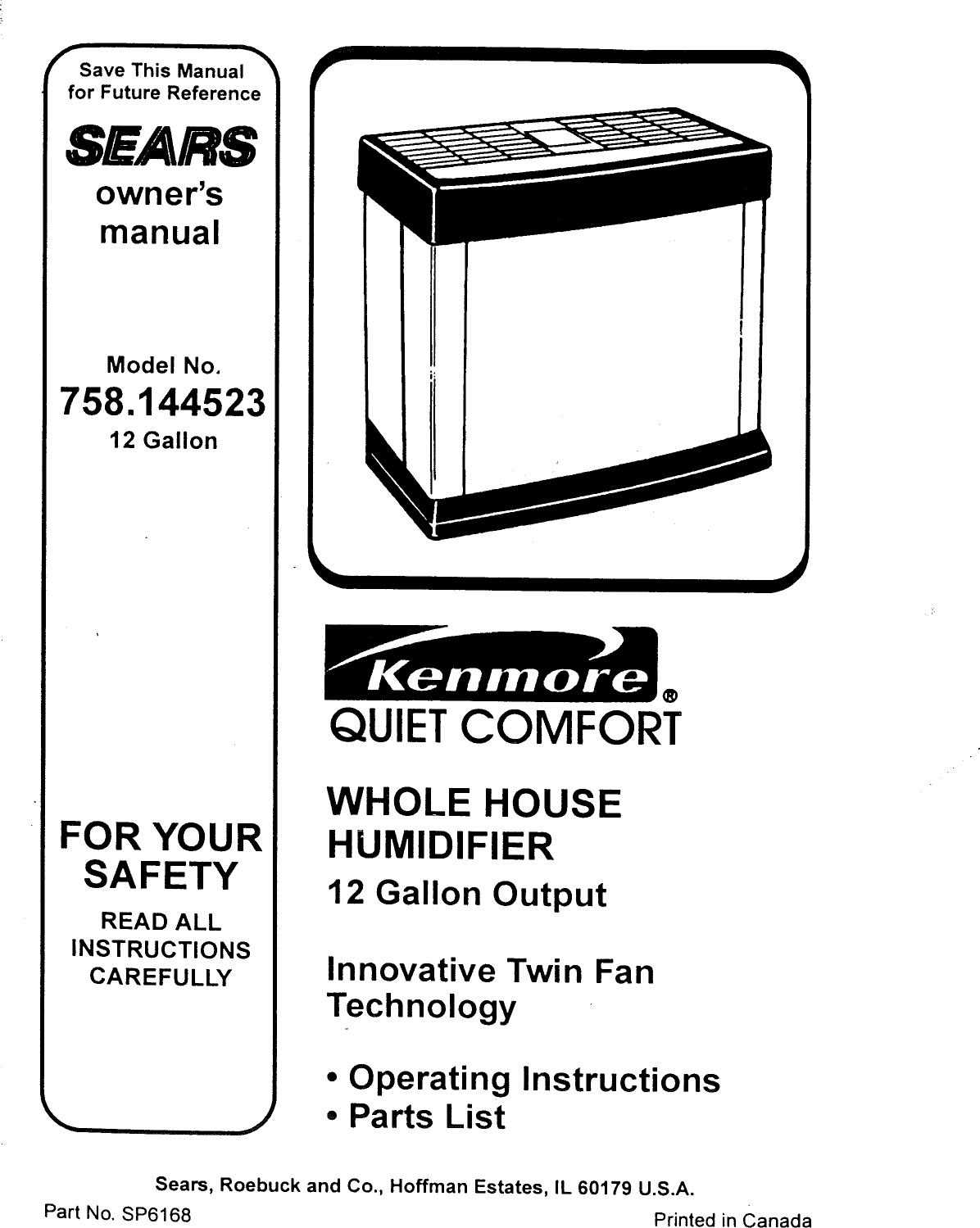 Kenmore 758144523 User Manual HUMIDIFIER Manuals And