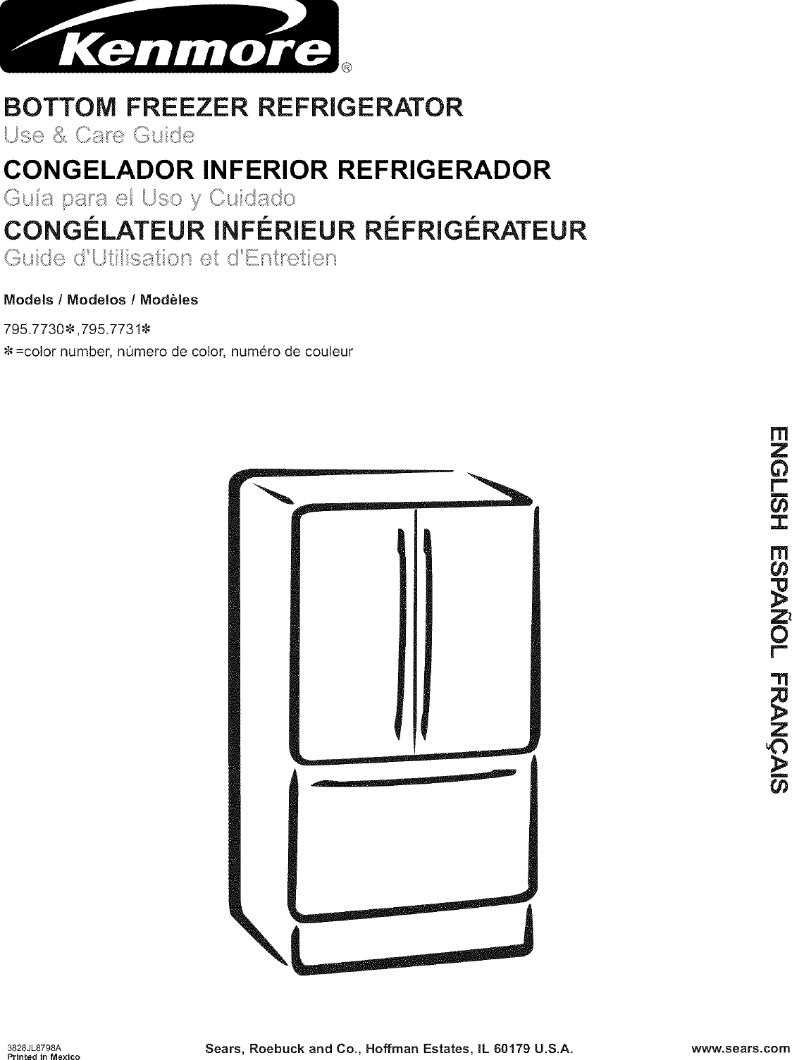 Kenmore 79577302600 User Manual REFRIGERATOR Manuals And