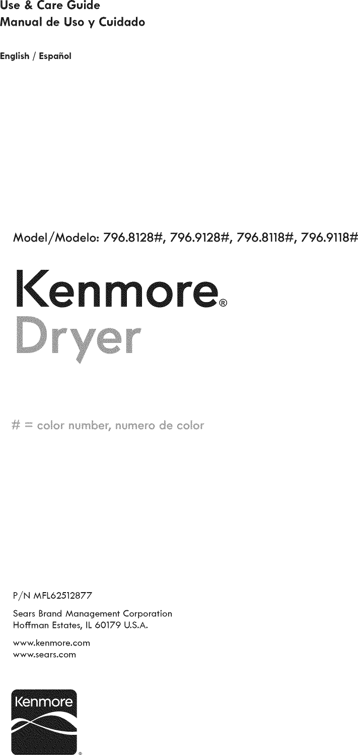 Kenmore 79681182310 User Manual DRYER Manuals And Guides