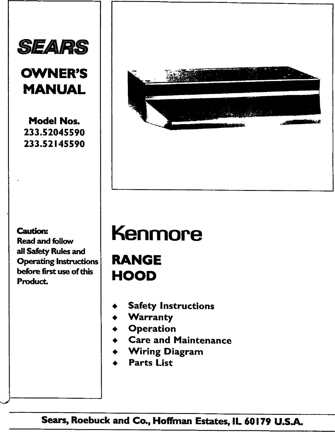 Kenmore 233 5204559 Users Manual